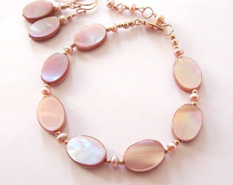 Bracelet Earring Set, Shades of Pink Mother of Pearl, Freshwater Pearls Rose Gold Filled, Mother's Day