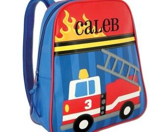 Boys Backpack Personalized Firetruck Stephen Joseph Go Go Preschool Toddler