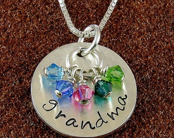 Grandmother Necklace with Birthstone Crystals,Sterling Silver or 14K Gold Filled with Grandchildren's Birthstones/Grandmother Jewelry