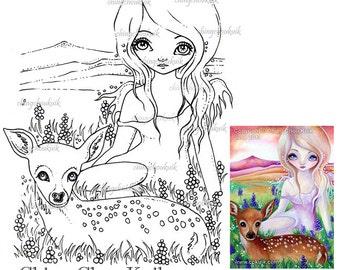 Hi Deer - Digital Stamp Instant Download / Animal Fawn Deer Fantasy Fairy Angel Art by Ching-Chou Kuik
