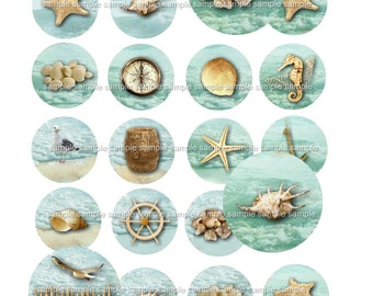 INSTANT DOWNLOAD - 1 Inch Circles  - Beach  -  Printable Digital Collage Sheet - Digital Download