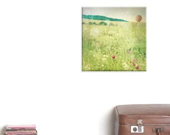 canvas wrap, canvas art, photography canvas, Landscape photography, Hot air balloon print, Spring print, Wall decor, floral, Green field