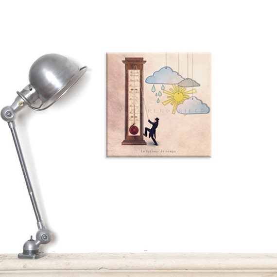 wall decor print, custom print, canvas, fine art photography, Still life photography, Thermometer, Cloud, Children decor, Fun art print