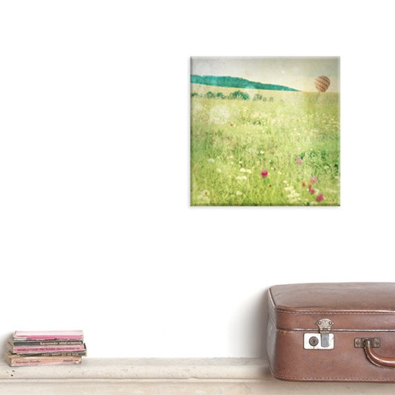 canvas wrap, canvas art, photography canvas, Landscape photography, Hot air balloon print, Spring print, Wall decor, floral, Green field