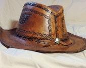 "Vintage tooled leather hat XXXL size 8 handmade 25"" folk art Texas longhorn cowboy hat braid FREE Shipping"