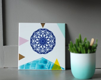 SECONDS SALE Screenprinted/painted tile spirograph