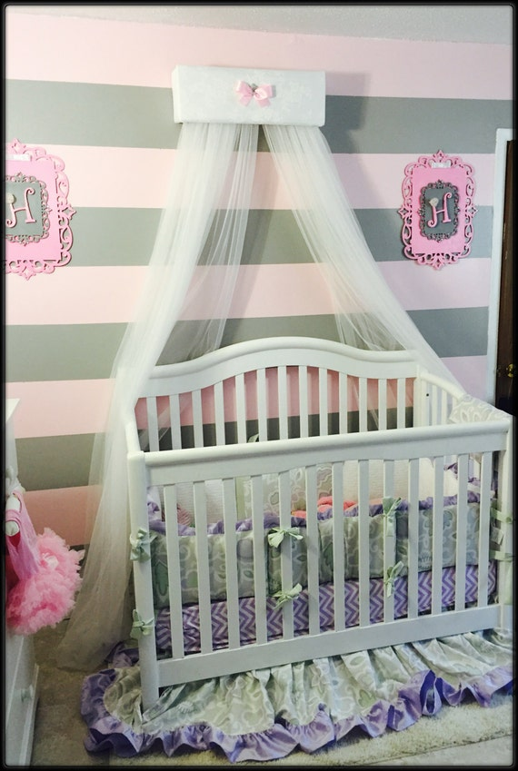 White lace pink nursery crib baby children girls bedroom decor for Nursery crown canopy