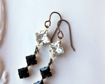 Black and White Earrings / Jet Black and Crystal Double Diamond Antiqued Brass Earrings / Earrings to Dazzle on New Years Eve