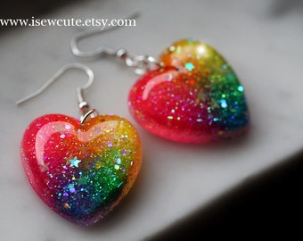 Earrings Dangle Neon Rainbow Glitter Jewelry, Cute Earrings, sparkly resin dangle style earrings, rainbow hearts handcrafted by isewcute