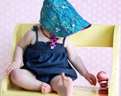 UB2 SAKURA  a sweetly modern, japanese inspired infant summer sun hat in teal, thundercloud & fuchsia by The Urban Baby Bonnet (all sizes)