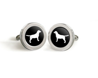Labrador Retriever Silhouette Cufflinks for Him - Mod Dog Custom Lab Lover Tuxedo Cuff Links in your choice of color