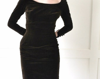 1960s velvet wiggle dress 60s vintage chocolate brown fitted sheath bombshell dress small