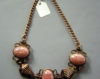 Vintage 50s Chunky Copper & Pink Confetti Lucite Necklace - Glitterati Girl