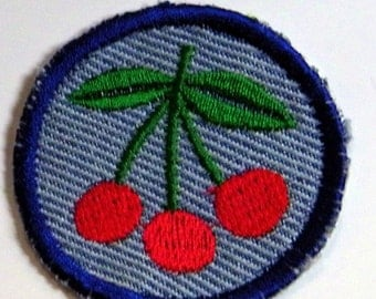 Three Cherries Iron on Patch, merit badge Upcycled from Blue Jeans