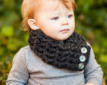 Charcoal Gray Toddler Scarf 1T to 4T Toddler Girl Scarf Toddler Boy Scarf Toddler Scarflette Button Scarf Button Scarflette Button Cowl