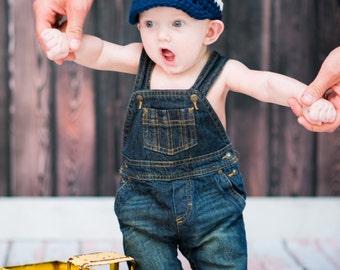 Baby Boy Hat 3 to 6 Month Navy Blue Baby Hat Ecru Brown Baby Boy Clothes Photo Prop Baby Boy Cap Baby Cap Visor Beanie Visor Hat Trendy