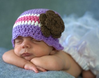 Baby Girl Hat 0 to 3 Month Baby Hat Lavender Baby Hat Crochet Flower Hat Baby Girl Clothes Baby Girl Beanie Photo Prop Baby Shower Gift