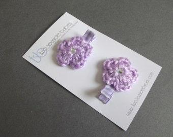 60% OFF Lavender Hair Clips Light Purple Hair Clips Lavender Gingham Hair Clips Light Purple Gingham Crochet Flower Hair Clips Baby Girl