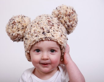 9 Sizes Pom Pom Hat Baby Hat Baby Girl Hat Baby Boy Hat Toddler Hat Toddler Girl Hat Toddler Boy Hat Womens Hat Winter Photo Prop Brown Sand