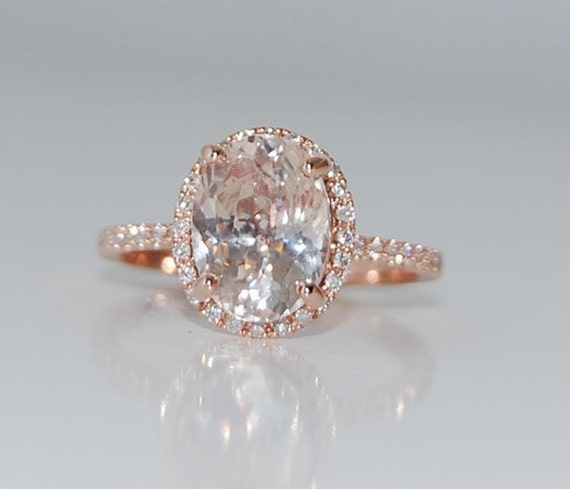 3.5ct Oval champagne peach sapphire diamond ring 14k rose gold engagement ring