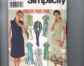 Misses Sewing Pattern Simplicity 7162 Misses and Petite Top Jacket Button Front Shirt Dress Slim Skirt Size 14 16 18 20 UNCUT  99