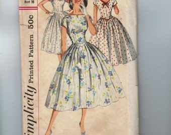 1960s Vintage Sewing Pattern Simplicity 2023 Misses Full Skirt Party Dress with Low Back Size 14 Bust 34 60s  99