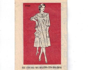 1980s Vintage Sewing Pattern Mail Order 4104 Misses House Dress Size 12 14 16 18 1/2 Plus Half Size Bust 36 37 39 41 1980s  99