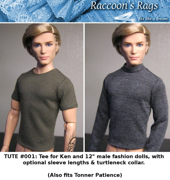 """PDF Full tutorial with pattern TUTE#001: Tee shirt & turtleneck for 12"""" male dolls, such as Ken. Also fits Tonner Patience."""