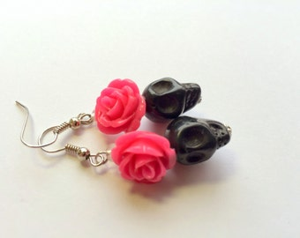 Black and Pink Day of the Dead Roses and Sugar Skull Earrings