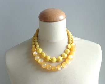 chunky yellow moonglow necklace double strand