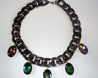 rainbow jewel statement necklace