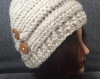 Slouchy Beanie Hat - Cream Crochet Beanie Hat - Womens Beanie Hat - Winter Hat
