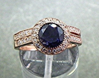 AAA Round Natural Blue Iolite   7mm  1.05 Carats   in 14K Rose gold bridal set with .35cts of diamonds. B007 1475