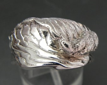 14K gold WAVE ring Hand carved in solid 14K White gold  11 grams Wedding band for a man.