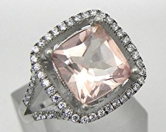 AAAA Peachy Salmon Morganite   9x9mm  3.00 Carats   Cushion cut  14K White gold and diamond Halo ring 0106 y