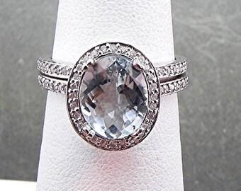 AAA Natural Checkerboard cut Aquamarine   10x8mm  2.10 Carats    in 14K White gold diamond bridal set(.50ct) 0971 B108