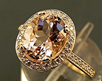 AAA Peach Morganite   10x8mm  2.32 Carats   in a 14k Yellow gold diamond Halo Ring (.32ct) Ring 1812 MMM