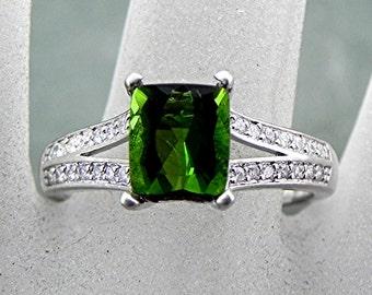 AAAA Green Cushion cut Tourmaline   8.6x7mm  2.27 Carats   in a 14K White Gold Diamond ring .30cts Ring 0975