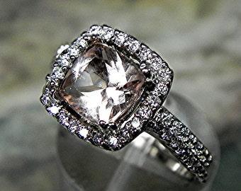 AAA 7x7mm 1.36 ct Natural Salmon Rose Morganite Cushion cut  14K white gold Halo Bridal set with ..45 carats of diamonds HB88  1527