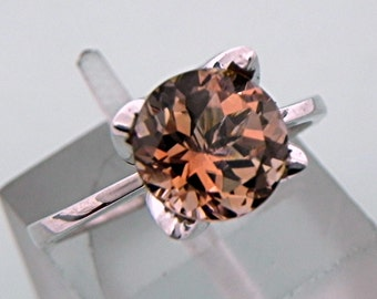 AAAA Bi Color Tourmaline round   8mm  2.02 Carats   Cognac Solitaire Tulip Engagement ring 14K White gold 1366