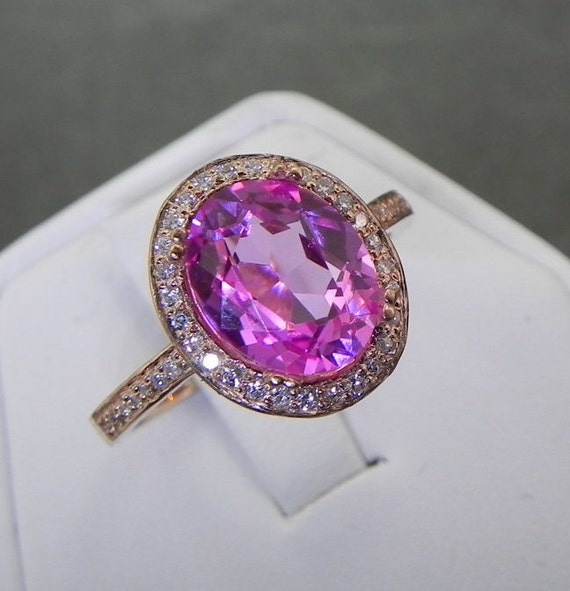 AAA Manmade Pink Sapphire   10x8mm  2.91 Carats   in a 14k ROSE gold ring with diamonds (.32ct) Ring 1129a