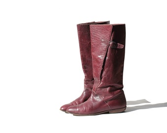 Vintage Burgundy Leather Tall Boots / Leather Boots / size 7