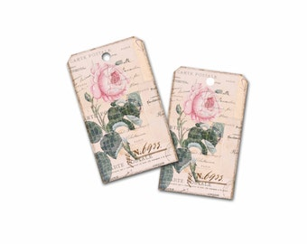 Classic Rose Gift Tag, Spring Gift Tag, Bridal Shower Gift Tag, Cottage Chic Gift Packaging,  Paris Gift Tag, Wedding Shower Party Favor Tag