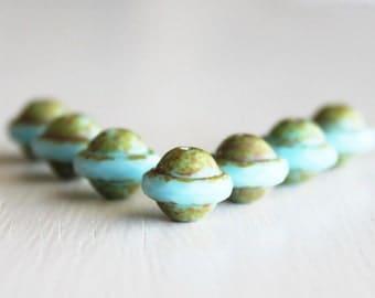 25 Opaque Sky Blue Picasso 8x10mm Czech Glass Saturn Beads
