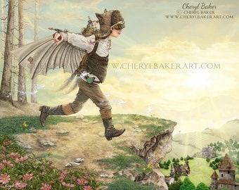 Whimsical Art - Fairy Art - Art for Girls Room - Girls Nursery Art - Fairy Nursery Decor - Steampunk Art - Fairy Wings - Fairies - Fairy