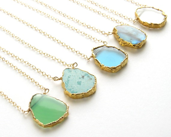 Gemstone slice necklace