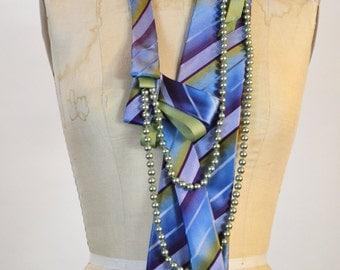 Purple Passion Pearl and Silk Tie Necklace