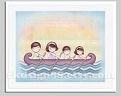 Family art for children decor, art for kids room, baby nursery art print, ocean painting  - Row row your boat - Stronger 8x10 brown