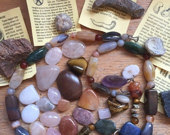 DESTACH LOT Stones // Fossils // Cabs Cabochons // BOHO // Bohemian // Repurposed // Jewelry Making // Crafting Art Supplies // Rocks