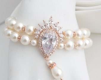 Statement Wedding Bracelet Bridal Pearl Bracelet Rose Gold Bridal Bracelet Pearl Crystal Cuff Double Strand Pearl Wedding Jewelry EDITH